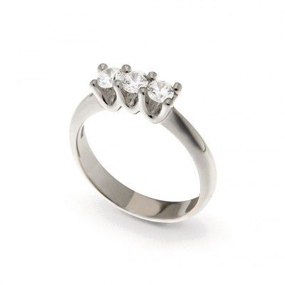 Three Stone Ring in Silver 925 and Cubic Zirconia