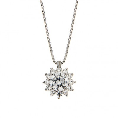 Pendant in Silver 925 and Cubic Zirconia with a 42 cm Chain