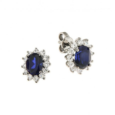 Pair of Earrings in Silver 925 and Cubic Zirconia