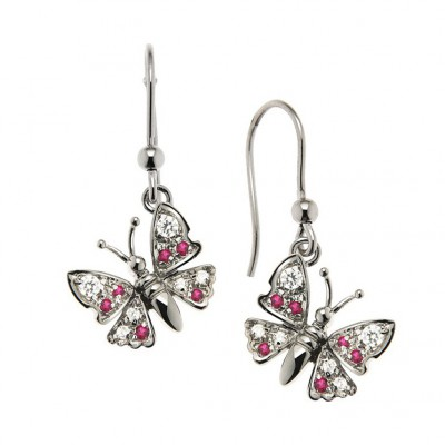 Pair of Butterfly Earrings in Silver 925 and Cubic Zirconia