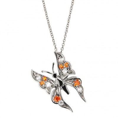Butterfly Pendant in Silver 925 and Cubic Zirconia with a 42 cm Chain