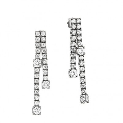 Pair of Tennis Earrings in Silver 925 and Cubic Zirconia