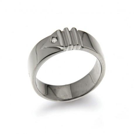 Anello Uomo In Argento 925 E Diamante